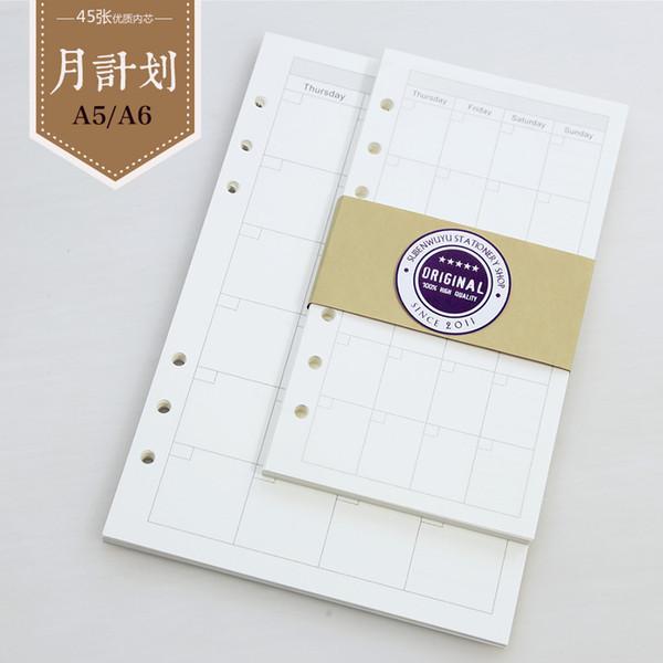 Al por mayor- Hojas de cuaderno de hojas sueltas de Filofax A5 A6 Plan mensual Planificador de cuaderno de núcleo Filofax Diario Viajeros Papeles de relleno de cuaderno