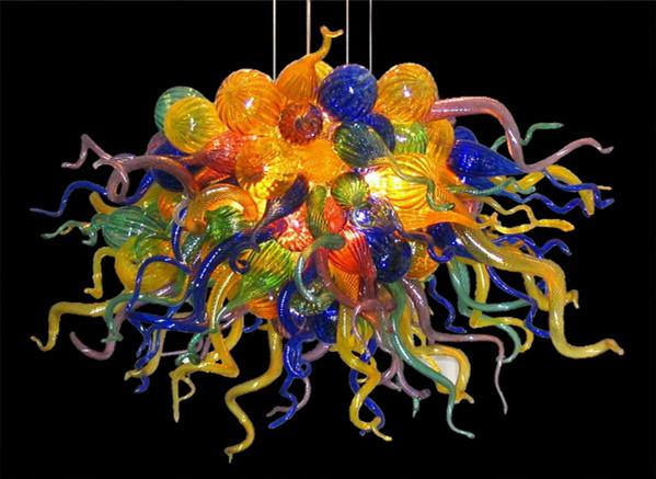 Free Shipping 100% Mouth Blown Borosilicate Led Light Fixture Murano Glass Chandelier Modern Style Multicolor Modern Crystal Pendant Lamps