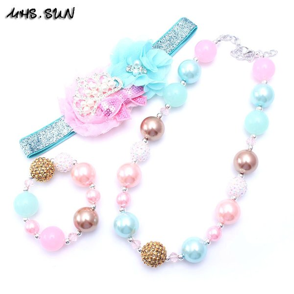 MHS.SUN Blue+Pink Color Necklace&Bracelet Headband 3PCS Set Birthday Party Gift Toddlers Girls Bubblegum Baby Kid Chunky Necklace Jewelry