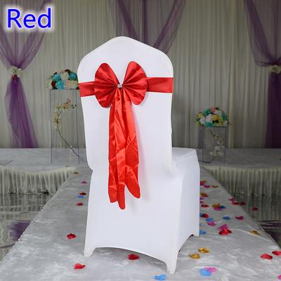Red colour chair sash long tail butterfly style wedding chair decoration luxury chair bow tie wholesale lycra spandex sash