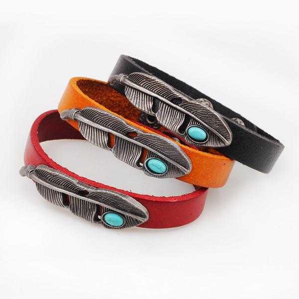 Feather Leather Bracelet Men\'s Turquoise Beads Multi Colored Soft Leather Bracelet Pulsera Cuero Con Pluma Bracelet Cuff Minimalist Style