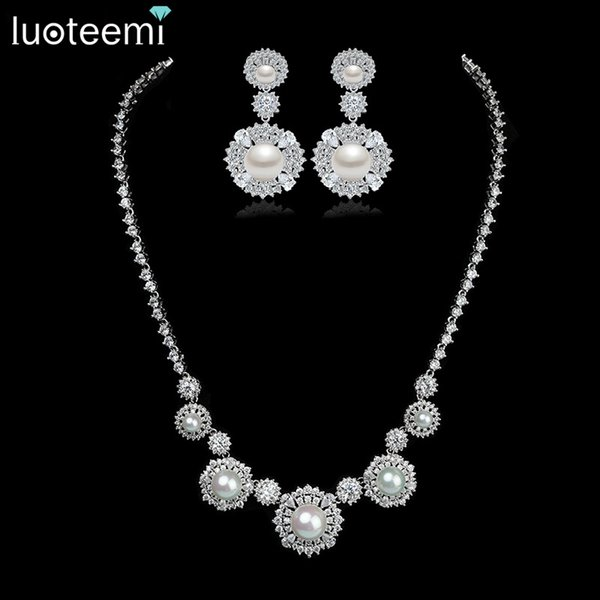 LUOTEEMI Luxurious New Noble White Gold-Color AAA Cubic Zircon Round Imitation Pearl Necklace Bridal Wedding Jewelry Set for Women