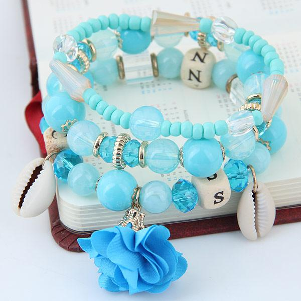 Bohemia Ethnic Fashion Jewelry Vintage Retro Beads Shell Rose Flower Statement Accessories Multilayer Bracelets Elasticity Bangles For Women