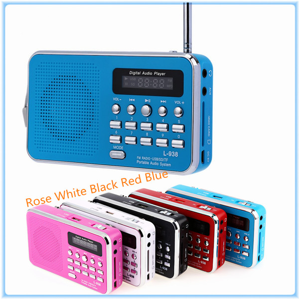 Wholesale-Mini PortableDual Band Rechargeable Digital LED Display Panel Stereo FM Radio Speaker USB TF Mirco For SD Card MP3 Music Player