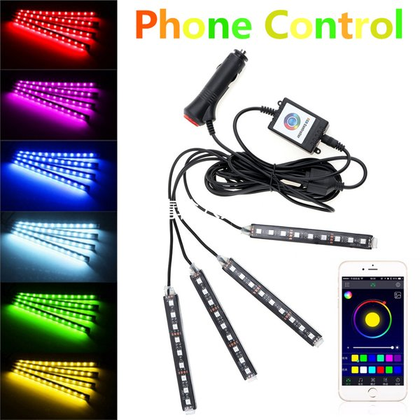 4pcs Car Interior Light Strips Bluetooth Android IOS Phone Control with RGB Strip Light Flexible Atmosphere Kit Foot Lamp CLT_20W