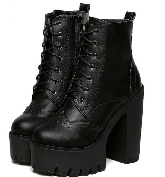 wholesale Punk Gothic Rock Women Boots Platform High Top Leather Lace Up Side Zip Ankle Boots Short Bootie Creepers Wing Tip Shoes Broques
