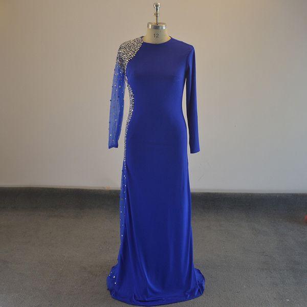 Verde Azul Roxo Vermelho Beading Cristal sereia mangas compridas Spandex Vestidos Mãe da Noiva Vestidos