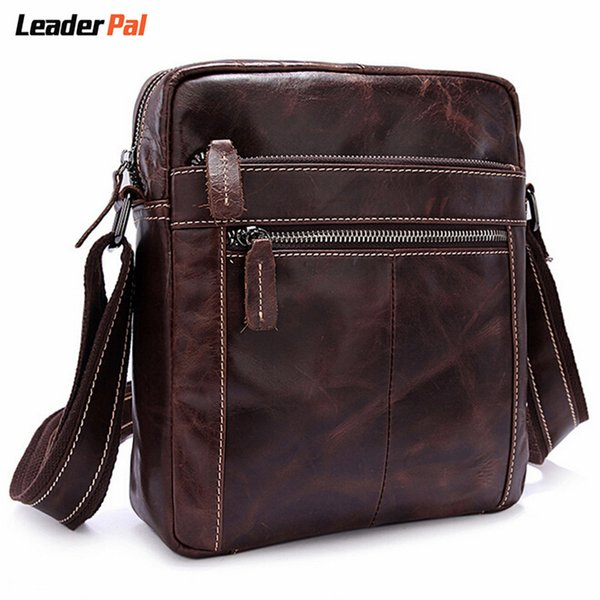Wholesale-Genuine Leather Men Messenger Bags Vintage Small Crossbody Bag Handbags Crazy Horse Leather One Shoulder Bags for Men Sac A Main