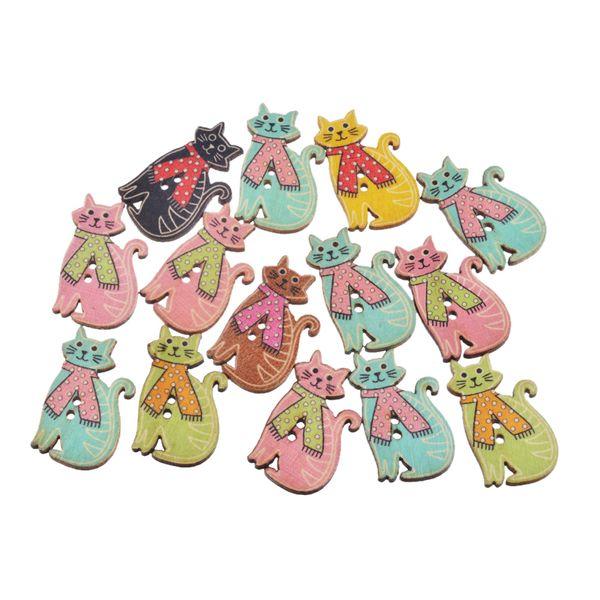 100PCs MIxed Color Cute Cat Wooden Button 31x18mm 2 Holes Decorative Crafts Sewing Tools Crafts DIY Scrapbooking Supplies