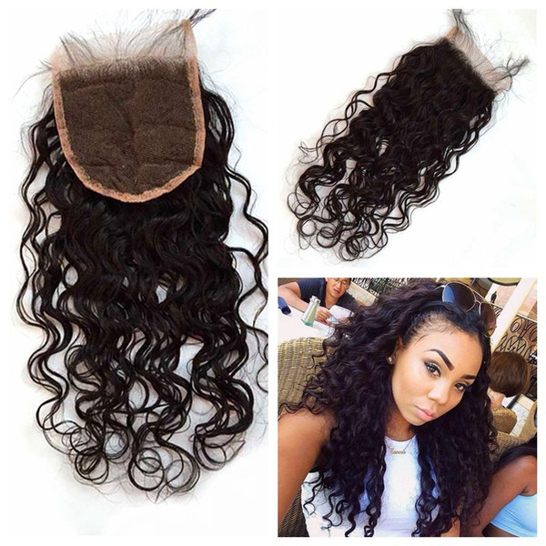 Virign Brazilian Water Wave Closure Unprocessed Human Hair 4x4 Lace Closure Bleached Knots LaurieJ Hair