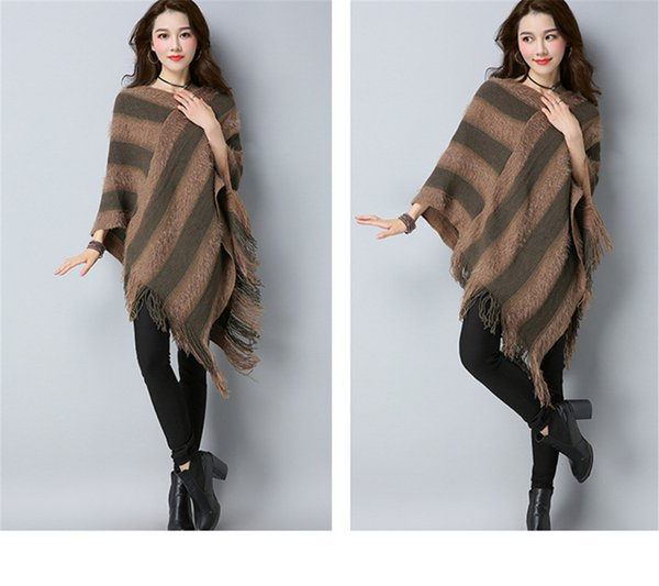 Sweaters Plaid Street Tassel Batwing Sleeve Midi Pullover Sweater Womens Capes and Ponchoes Knitwear Sudaderas Plaid Cardigan Cape
