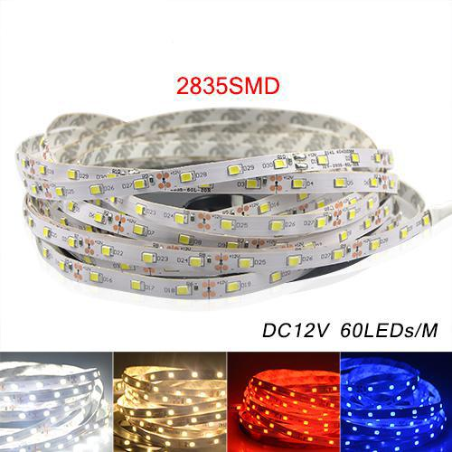 top popular 5M 2835 SMD More Brighter Than 3528 5050 SMD LED Strip light DC 12V 60LEDs M Indoor Decorative Tape White Blue Red 2019