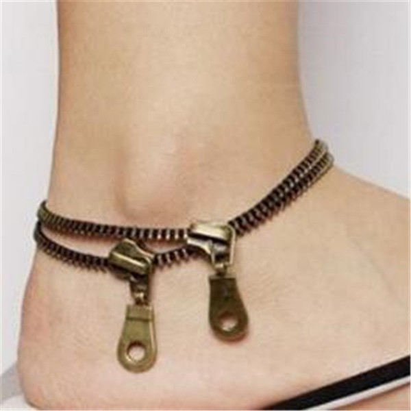 Anklets for Women Fashion Foot Chain DHL New Popular Jewelry Accessories Punk Stlye Vintage Zipper Anklets Christmas Gift