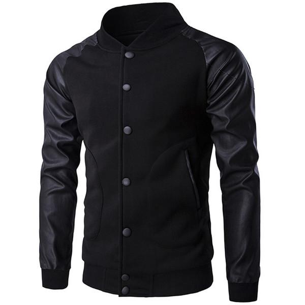 Wholesale- New Trend Black Varsity Jacket Men/Boy Bombers Veste Homme 2016 Fashion Pu Leather Sleeve Slim College Baseball Jacket For Fall