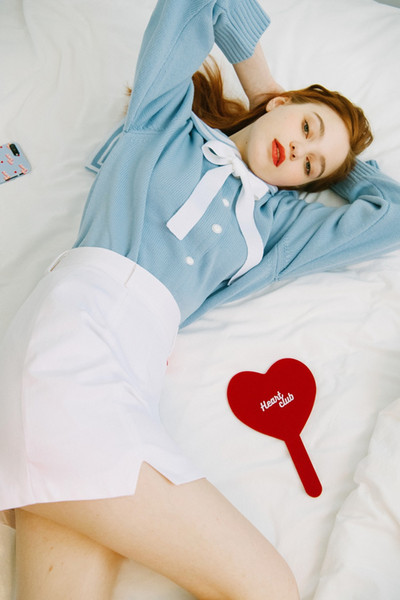 New Arrival Vintage Kawaii Cute Lovely Korea Heart Club Letters Embroidery Sailor Collar Cardigans Sweater Fashion