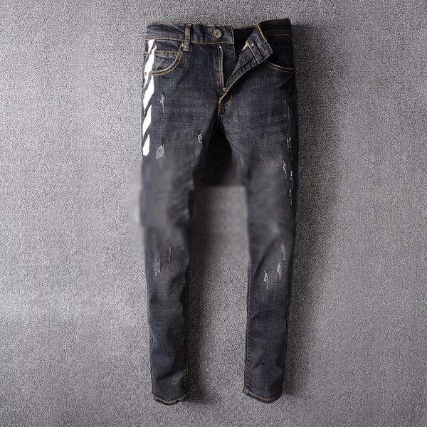 Großhandel Street Brand Robin Jeans Für Männer Fashion OFF WEISS Streifen Print Herren Schwarz Slim Fit Washed Vintage Man Denim Bleistift Hosen Von