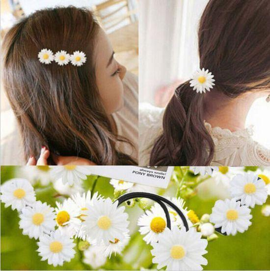 Daisy Elastic Hair Ring Rope Bands Hair Clips Ponytail Holder For Girl Kids Baby #T701