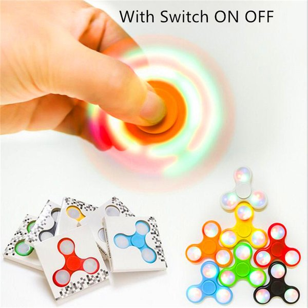 LED Light Up Hand Spinner Fidget Spinners With Switch Triangle Finger Spinner EDC Rainbow Decompression Fingers Fidget Tops Gyro Toys
