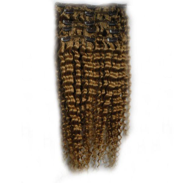 Clip vergini afro crespi biondi capelli biondi afro estensioni 100g 7pcs Clip nelle estensioni dei capelli umani