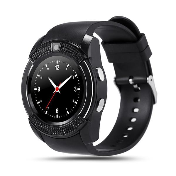 Akıllı İzle V8 Yuvarlak Dial Bluetooth Smartwatch Telefonlar Kamera ile SIM Destekler Android iOS için Kamera Spor Bilek Saatler Giyilebilir Kol