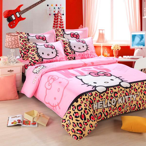 Wholesale- Unihome Home textiles Children Cartoon Hello kitty kids bedding set, include duvet cover bed sheet pillowcase