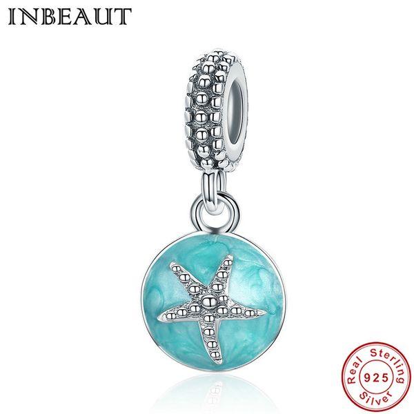 INBEAUT Summer 925 Sterling Silver Clear CZ Starfish & Sea Green Enamel Pendant Charm Fit Pandora Bracelet Jewelry