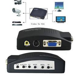 PC Laptop Video Compuesto TV RCA Compuesto S-Video AV Entrada a PC VGA LCD Out Convertidor Adaptador Caja de Interruptores Negro EE. UU. UE REINO UNIDO Enchufe