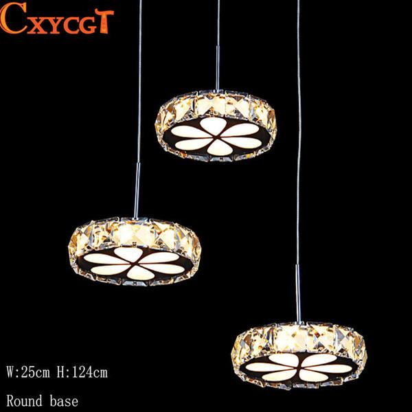 Modern Crystal Led Pendant Light for Dining Room Restaurant Pendant Lamp with Ceiling Plate Kitchen Bar Decoration