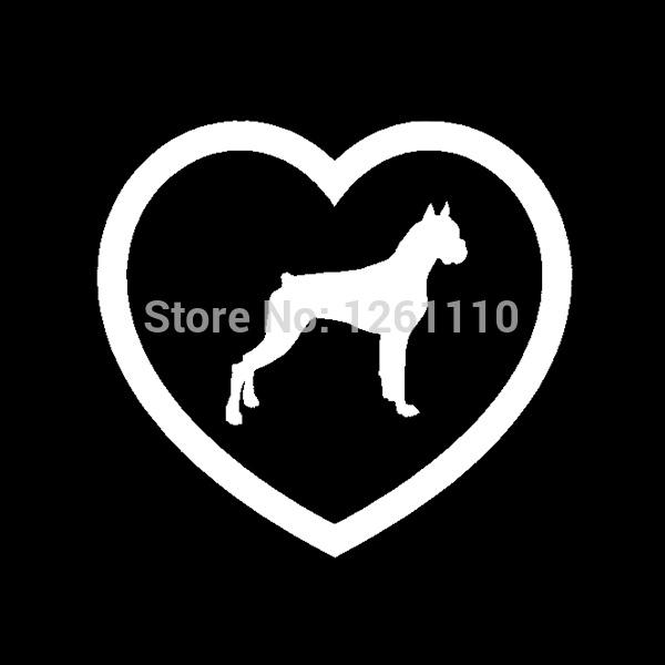 Wholesale 20pcs/lot Home Decorations Automobile and Motorcycle Vinyl Decal Car Glass window Stickers Jdm Boxer Heart Sticker Dog Puppy Love