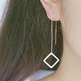 S925 стерлингового серебра квадрат уха провода не исчезают предотвратить аллергию зеленые серьги подвески головные уборы