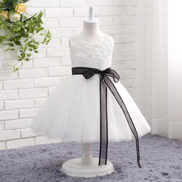 Real Photo White and Black Flower Girl Dresses Sleeveless Black Ribbon Sash Lace Tulle Girls Birthday Party Gowns Custom Size