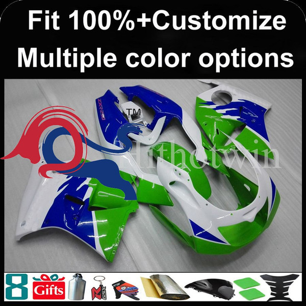 Injection mold green blue white Body motorcycle cowl for Kawasaki ZXR250 1993 1997 93-97 ZXR 250 1993-1997 93 97 ABS Plastic Fairing