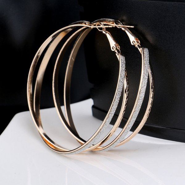 best selling Foreign trade exaggerated irregular scrub big earrings European and American fashion punk female geometric cross double earrings