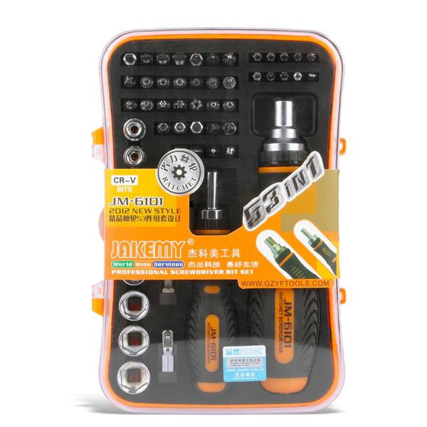 DHL 20Sets JAKEMY JM-6101 53 in 1 Mobile Computer Bicycle Household Ratchet Hand Tools Mini Pocket Screwdriver Bits Set