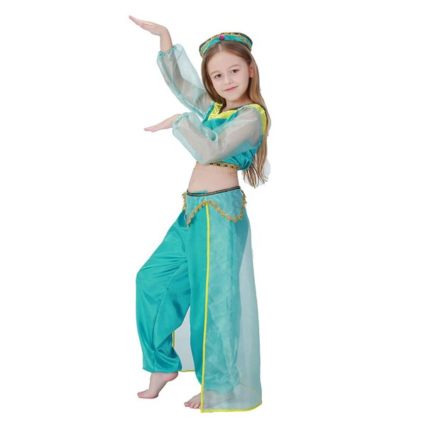 e0ccbf6f4cf3f Girls Aladdin'S Lamp Jasmine Princess Costumes Cosplay For Children  Halloween Party Belly Dance Dress Indian Princess Costume Group Halloween  Costumes ...