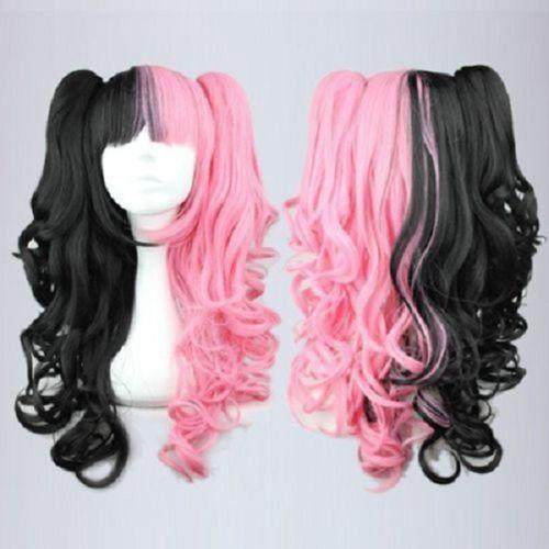 free shipping charming new Hot sell Best New Long Curly Black Pink Mixed Fashion Anime Cosplay Wig Ponytails