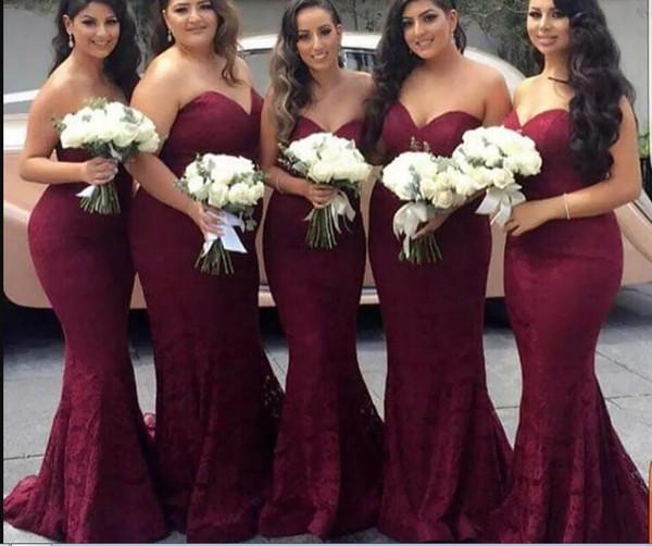 Elegante Borgonha Querida Lace Sereia Barato Longo Da Dama de Honra Vestidos 2020 Vinho Maid of Honor Vestido de Convidados Do Casamento Do Partido Do Baile de Finalistas vestidos