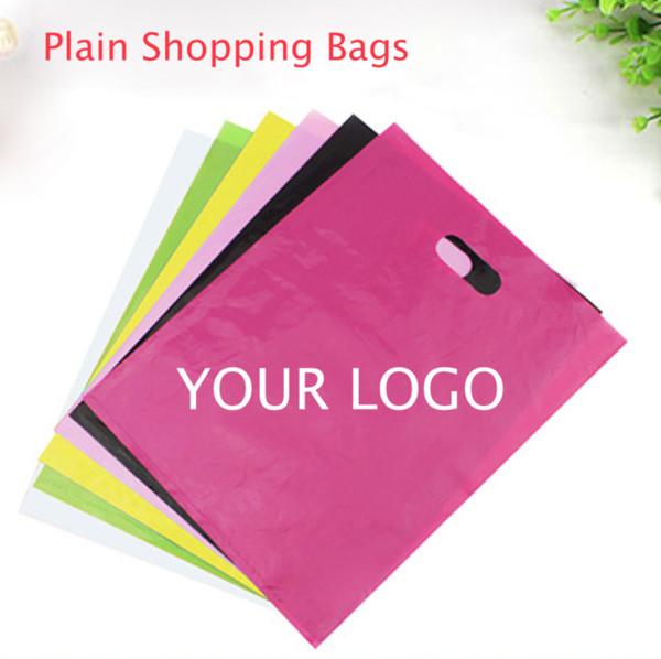 top popular plain color PE cloth bags blank shopping bags plastic packaging bag gift bags can custom print logo wholesale 2019