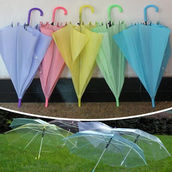 best selling Clear umbrellas Long handle rainbow color umbrellas kids girls men women beach umbrellas sunshade wedding party umbrella free shippin