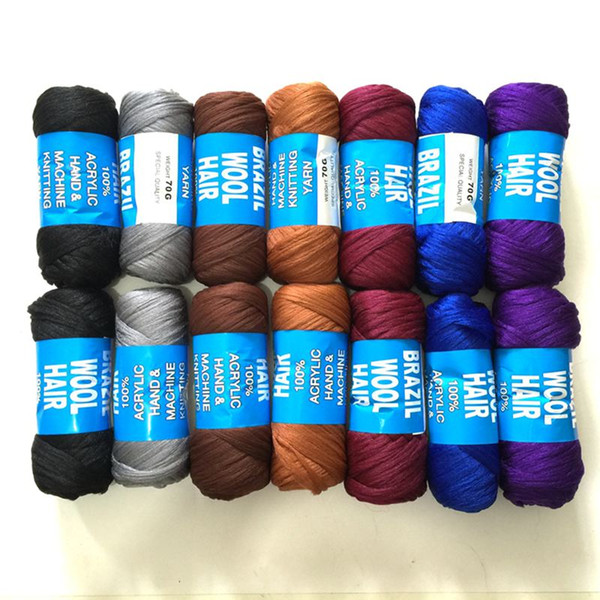 top popular Synthetic Braiding Brazilian Wool Hair Crochet Braids Twist Low Temprature Flame Retardant Fiber Synthetic Hair Extensions 70g 23M 2019