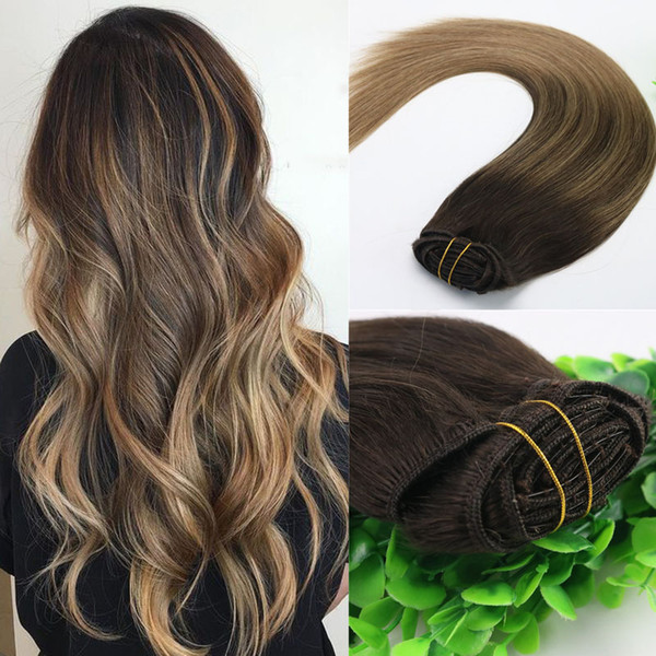 8A 7pcs 120gram 14inch 18inch 20inch 24inch Clip In Human Hair Extensions Ombre Dark Brown To Light Brown Balayage Highlights Hairstyle