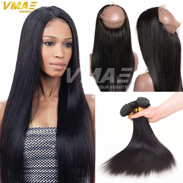 Straight 360 Lace Frontal Closure With Weaves Virgin Brazilian Human Hair 3 Bundles With 360 Full Lace Closure Density 150% DHL Free Ship