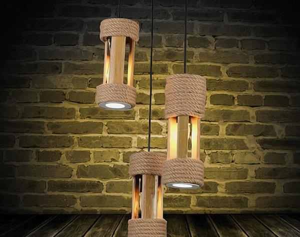 Lampade a sospensione in bambù di moda Apparecchio a testa singola Lampada a sospensione a LED per camera da letto Semplice corda di canapa Lampada a sospensione a LED Lamparas Luminair