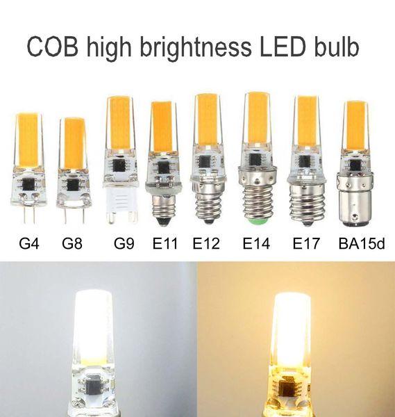Пакет из 10, затемняемый G4 G8 G9 GY6.35 E11 E12 E14 E17 BA15D LED 5W Белый / Теплый 110V / 220V 2508 COB Светодиодные силиконовые лампочки
