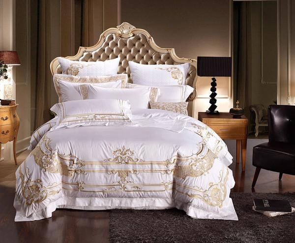 Vente en gros - 100% coton égyptien blanc broderie palais royal luxe literie ensemble 4/6 pcs roi reine taille hôtel lit ensemble housse de couette drap de lit