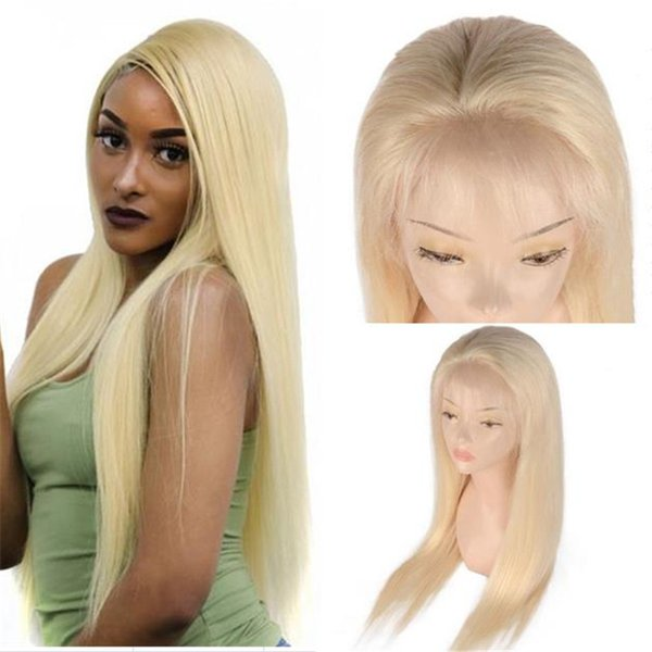 Celebrity Style 613 Color Silky Straight Russian Blonde Virgin Hair Glueless Lace Front Wigs Free Shipping