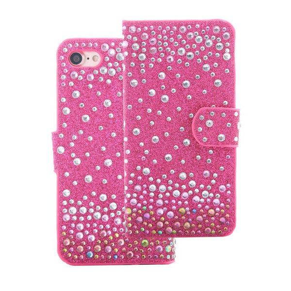 For Coolpad Defiant 3632 LG Aristo MS210 K20 Plus K10 Stylo 3 Plus Stylus TPU Rhinestone Glitter Wallet Case Card Slot Photo Frame