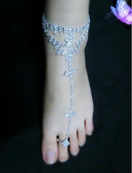 Rhinestone Foot Jewelry Sandalias descalzas Bridemaids Beach Joyería de boda Anillo Toe Tobilleras Cadenas para pies Pulseras de tobillo