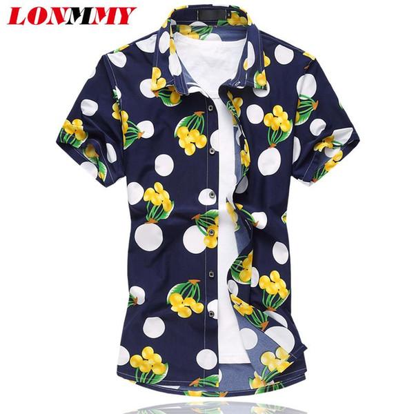 Wholesale- LONMMY Flower shirt men Silk cotton Camisa Fashion 2016 Summer Mens floral shirts Short sleeve Mens dress shirts High quality