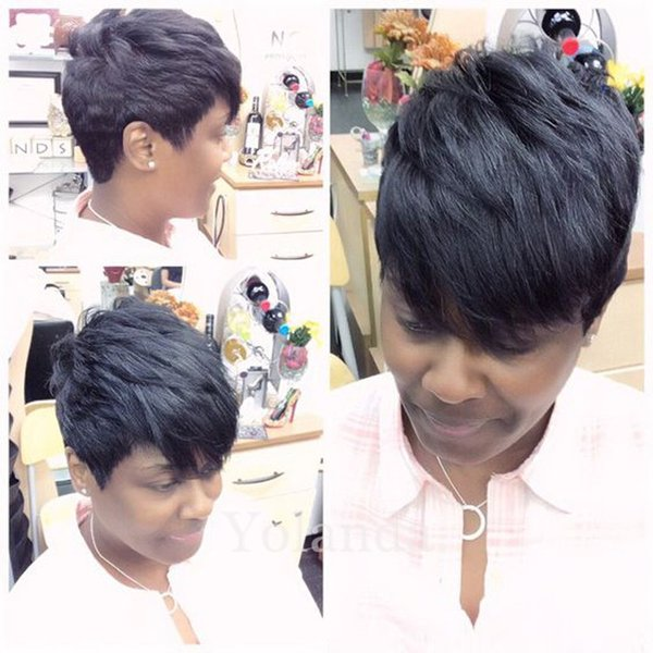 Rihanna short human hair wigs Celebrity african american wigs for black women Brazilian human hair lace wigs with baby hair